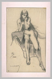Nude woman sitting on a saddle, front