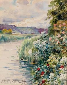 Flowers and reeds on the banks of a river, hills in the background