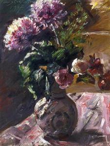 Chrysanthemums and Roses in a Jug