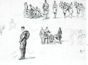 Group of spanish artillery men