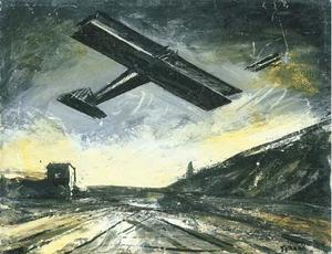 Landscape with airplanes