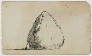 Haystack, with canvas held by weights