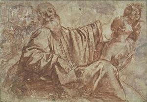 Old man sitting, holding a book, speaking to a young man