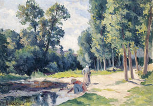 Washerwomen on the banks of the Cure