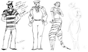 Four sketches for''Port Said''