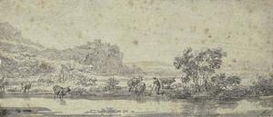 Landscape. a river man and cows in the riverbank