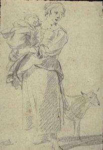 Peasant carrying his child in her arms