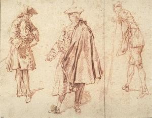 Three men standing in various attitudes