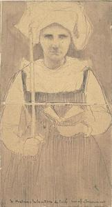 Breton peasant standing holding a candle in his right hand