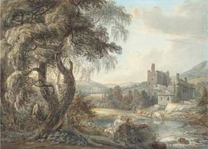 A wooded river landscape with figures and cattle, a castle beyond