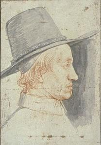 Portrait of a man wearing a top hat, looking to the right