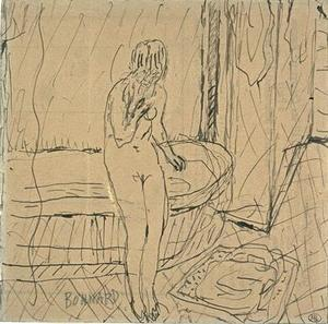 Nude woman standing in front of a tub at his feet, a bath mat