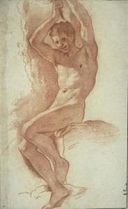 Naked man, seated, with arms raised
