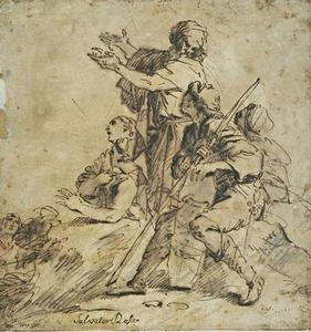 Figures and warrior sitting, listening to an old man standing among them