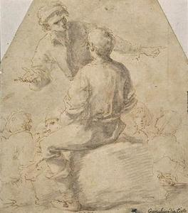 Man standing talking to a seated figure, back, and other characters