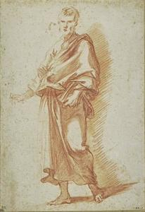 Man standing, draped, holding a book