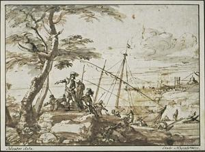 Soldiers disembarking from a galley, with a port in the distance