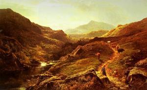 moel siabod de glyn lledr , avec figures et de bovins sur un chemin riverside