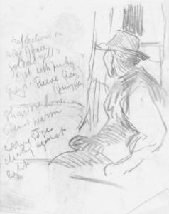 Sketch of a seated man in a hat for 'Interior of an Old Barn'