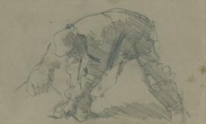 Study of a bending male figure for 'Winter Work'