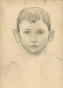 Study of a boy's head, portrait of the artist's son