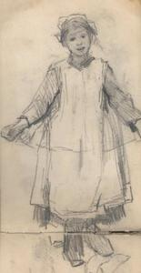 Study of a girl holding a garland
