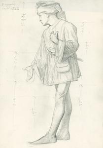 Study of a male figure in costume for 'The English People
