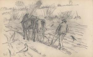Study of a man ploughing a field with two plough horses