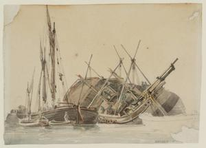 The Hull of a Ship with a Barge and Smaller Boats