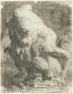 Two Male Figures Wrestling