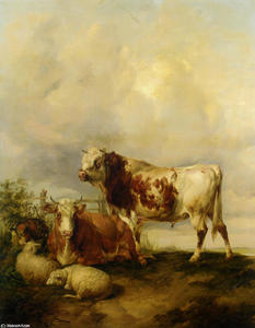 A Bull and Cow with Two Sheep and Goat