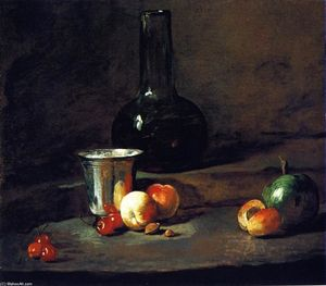 Carafe of Wine, Silver Goblet, Five Cherries, Two Peaches, an Apricot and a Green Apple