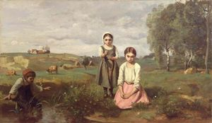 Children at the Edge of a Stream in the Countryside near Lormes