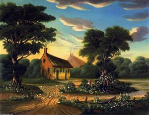 Cottages in a Landscape (also known as The Birthplace of Burns)