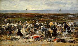 Etretat, Laundresses on the Beach, Low Tide