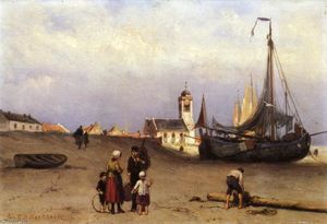 Fisher Folk and Beach Bomschuiten, near Katwijk