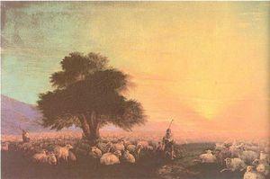 羊的牧民与羊群,夕阳