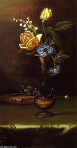 Flowers in a Vase with Book and Hairpin