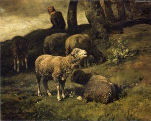 Pasto de ovejas con un Sheperdhess allá