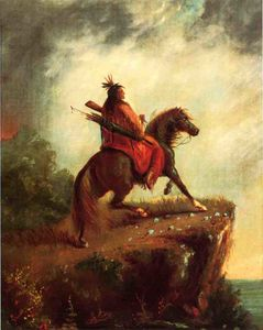 Indian Scout on Horse Back