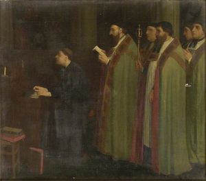 Interior with an Organist and a Procession