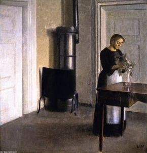 Interior with Woman Putting Twigs in a Glass, Strandgade 30