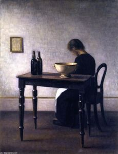 Interior with Woman Sitting at a Table