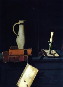 Jug, Books and Candle on a Cupboard Shelf