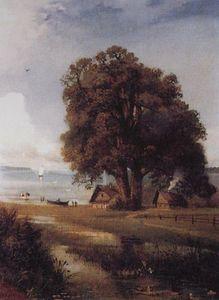 Landscape with a farm near Lake