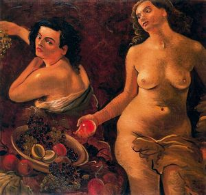 Two naked women and still life