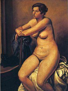 The nude female near the cat