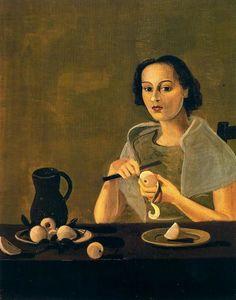 The girl cutting apple