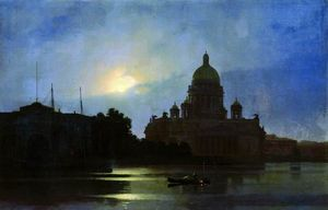 View of the Isaac Cathedral at Moonlight Night