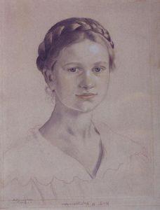 Portrait of I.B. Kustodieva, daughter of the artist